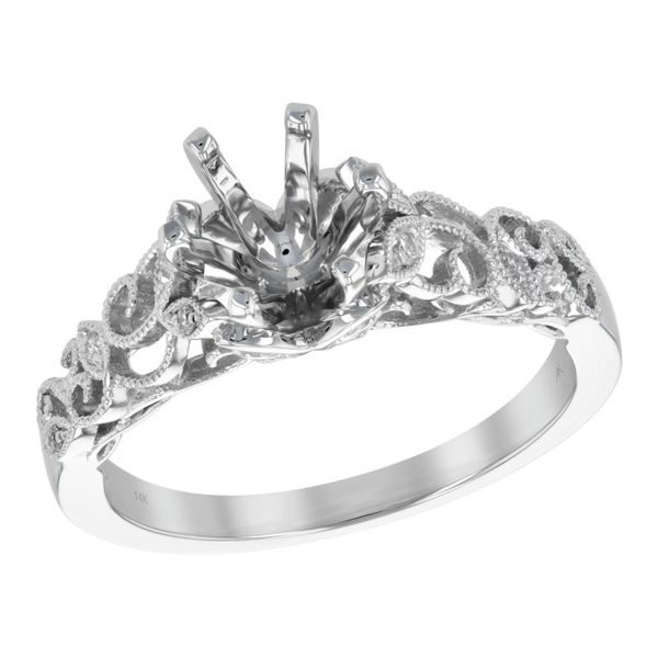 14kt White Gold 0.06ctdw Round Diamond Semi Mount Ring with Inner Changeable Head Sanders Diamond Jewelers Pasadena, MD