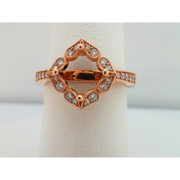 14kt Rose Gold Round Diamond Semi Mounting Ring for a 1.00ct Center Sanders Diamond Jewelers Pasadena, MD
