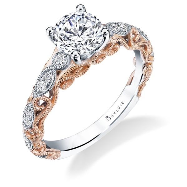 14kt Rose and White Gold Round Diamond Semi Mounting Ring for a 1.00ct Center Sanders Diamond Jewelers Pasadena, MD