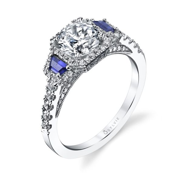 14kt White Gold Round Diamond and Blue Sapphire Semi Mounting Ring Sanders Diamond Jewelers Pasadena, MD
