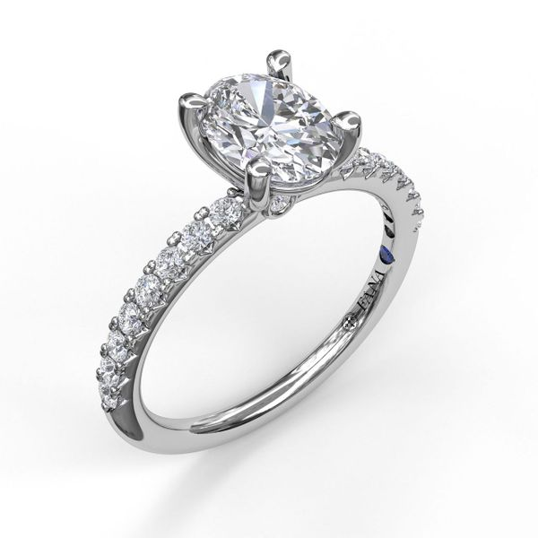 14kt White Gold Round Prong Set Semi Mount Diamond Ring for a 3/4ct Oval Sanders Diamond Jewelers Pasadena, MD