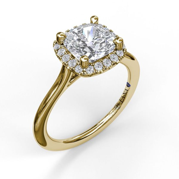 14kt Yellow Gold Cushion Halo Semi Mount Ring Sanders Diamond Jewelers Pasadena, MD
