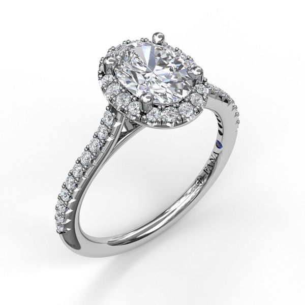 14kt White Gold Round Diamond Oval Halo Semi Mount Ring Sanders Diamond Jewelers Pasadena, MD