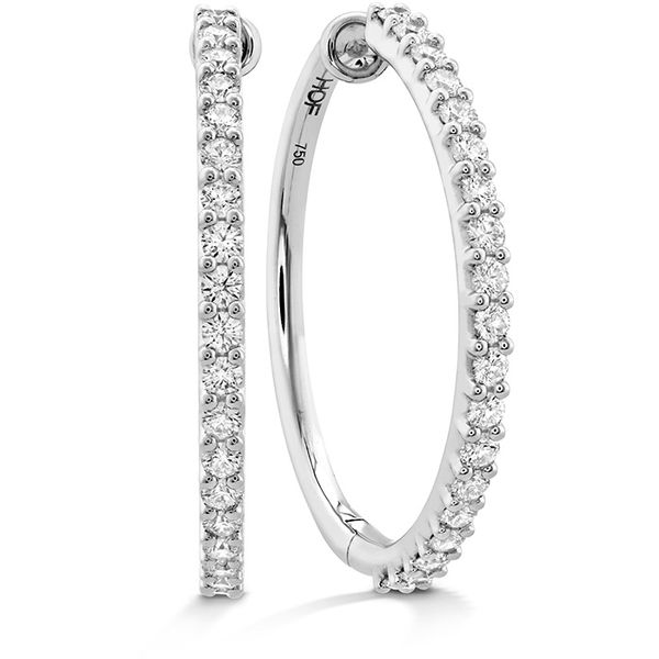 18kt White Gold 0.51Ctdw Round Diamond Hoop Earrings By Hearts On Fire Sanders Diamond Jewelers Pasadena, MD