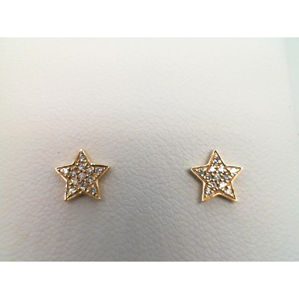 14kt Yellow Gold Round Diamond Star Stud Earrings Sanders Diamond Jewelers Pasadena, MD