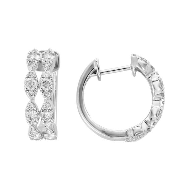 14kt White Gold Round Diamond Huggie Earrings Sanders Diamond Jewelers Pasadena, MD