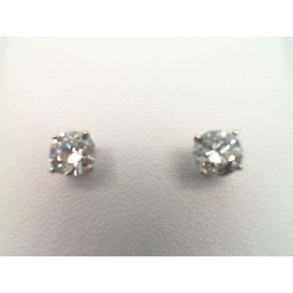 14kt White Gold 1.15ctdw Round Diamond Stud Earrings with Threaded Post Sanders Diamond Jewelers Pasadena, MD