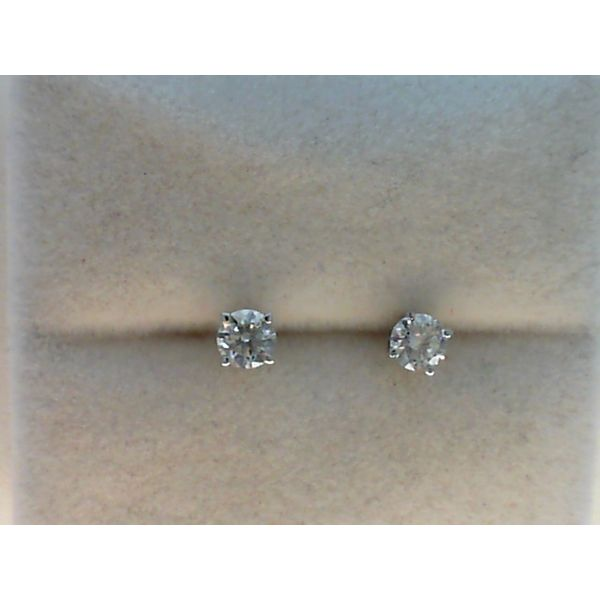 14kt White Gold 0.50ctdw Round Diamond Stud Earrings with Threaded Post Sanders Diamond Jewelers Pasadena, MD