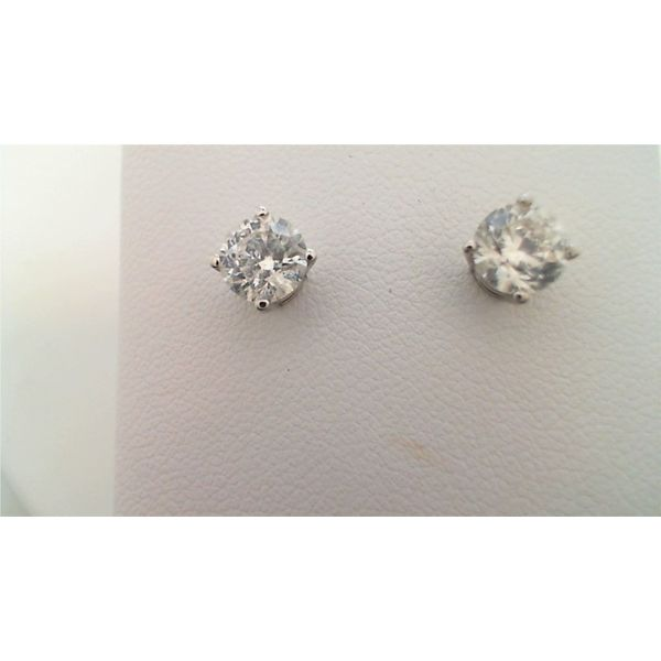 14KT WHITE GOLD 1.50CTDW C QUALITY FOUR PRONG ROUND DIAMOND STUD EARRING WITH SCREW POST Sanders Diamond Jewelers Pasadena, MD