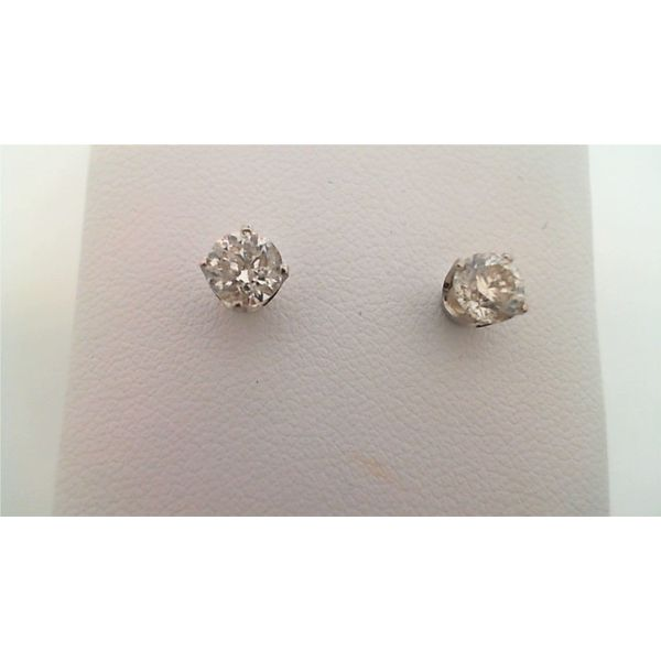 14KT WHITE GOLD 1.00CTDW C QUALITY ROUND NATURAL DIAMOND STUD EARRINGS WITH SCREW POST Sanders Diamond Jewelers Pasadena, MD