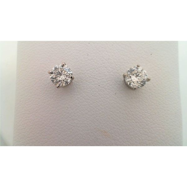 14KT WHITE GOLD 0.88CTDW B QUALITY FOUR PRONG ROUND NATURAL DIAMOND STUD EARRINGS ON SCREW POST Sanders Diamond Jewelers Pasadena, MD