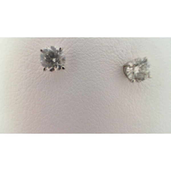 14KT WHITE GOLD 0.75CTDW  B QUALITY ROUND NATURAL DIAMOND STUD EARRINGS ON PIERCED POST Sanders Diamond Jewelers Pasadena, MD