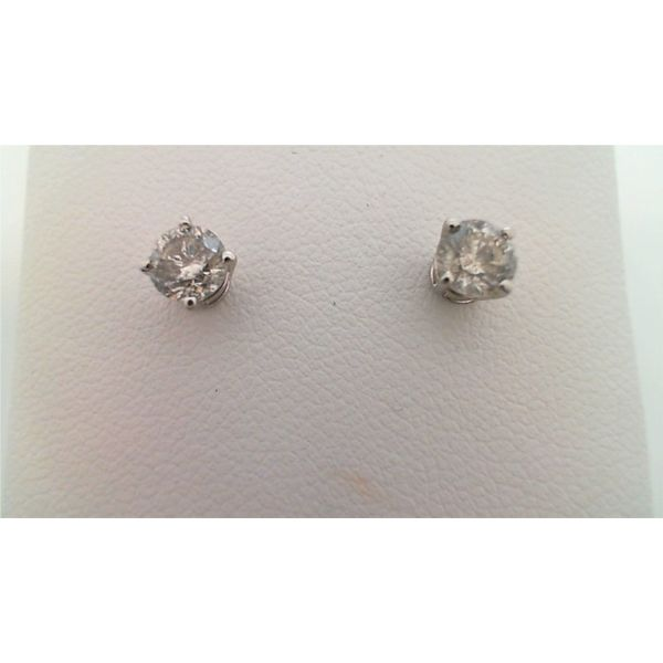 14KT WHITE GOLD 0.75CTDW C QUALITY FOUR PRONG ROUND NATURAL DIAMOND STUD EARRINGS ON PIERCED POST Sanders Diamond Jewelers Pasadena, MD