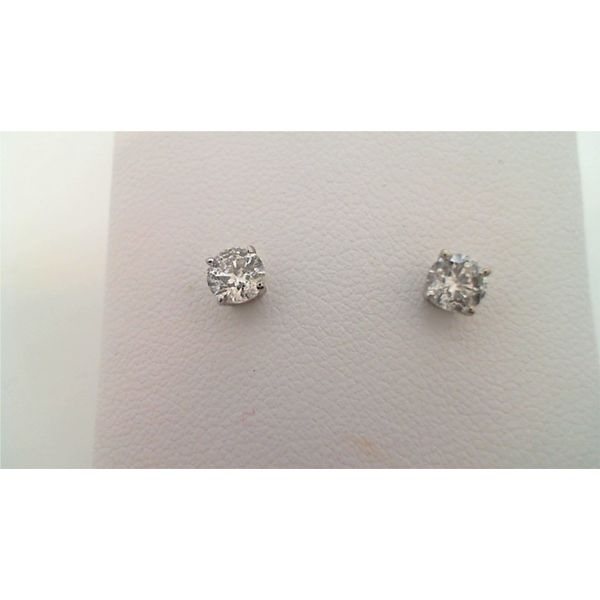 14KT WHITE GOLD 0.63CTDW C QUALITY FOUR PRONG ROUND NATURAL DIAMOND STUD EARRINGS ON SCREW POST Sanders Diamond Jewelers Pasadena, MD