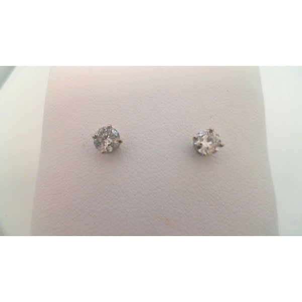 14KT WHITE GOLD 0.50CTDW FOUR PRONG ROUND NATURAL DIAMOND STUD EARRINGS ON PIERCED POST Sanders Diamond Jewelers Pasadena, MD