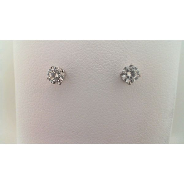 14KT WHITE GOLD 0.38CTDW A QUALITY FOUR PRONG ROUND NATURAL DIAMOND STUD EARRINGS ON PIERCED POST Sanders Diamond Jewelers Pasadena, MD