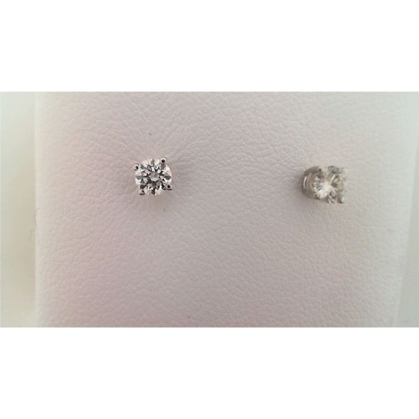 14KT WHITE GOLD 0.33CTDW A QUALITY FOUR PRONG ROUND NATURAL DIAMOND STUD EARRINGS ON PIERCED POST Sanders Diamond Jewelers Pasadena, MD