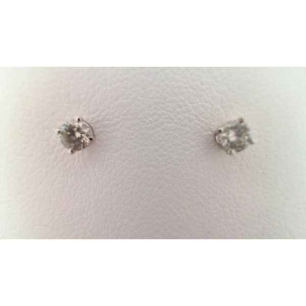 14KT WHITE GOLD 0.25CTDW C QUALITY FOUR PRONG ROUND NATURAL DIAMOND STUD EARRINGS ON PIERCED POST Sanders Diamond Jewelers Pasadena, MD