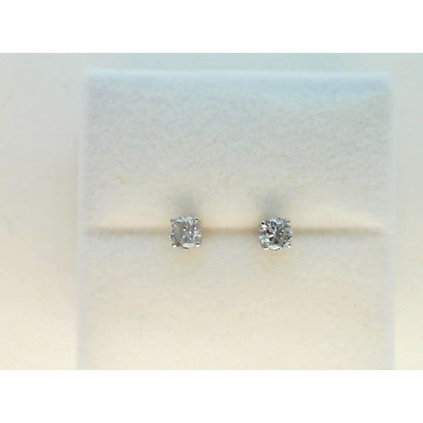 14KT WHITE GOLD 0.50CTDW C QUALITY FOUR PRONG ROUND NATURAL DIAMOND STUD EARRINGS ON STANDARD POST Sanders Diamond Jewelers Pasadena, MD