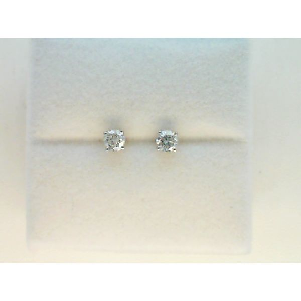 14KT WHITE GOLD 0.50CTDW A QUALITY FOUR PRONG ROUND NATURAL DIAMOND STUD EARRINGS ON SCREW POST Sanders Diamond Jewelers Pasadena, MD