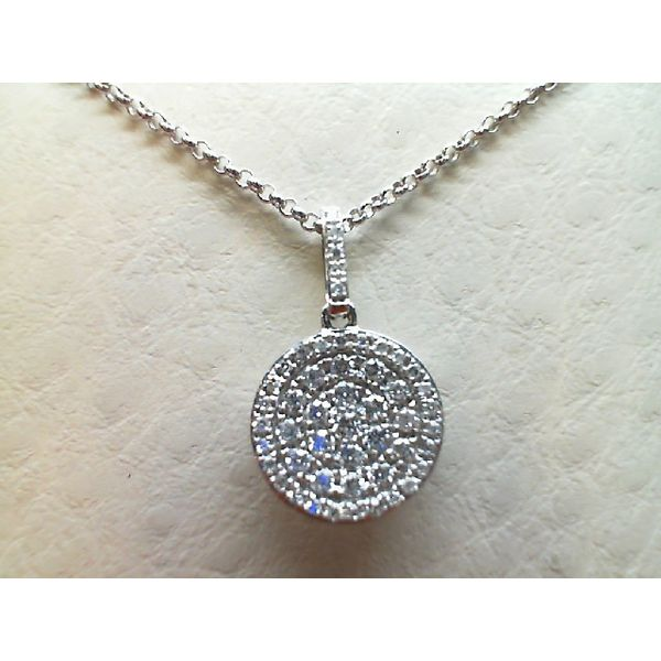 14kt White Gold 0.28Ctw Pave Diamond Pendant Sanders Diamond Jewelers Pasadena, MD