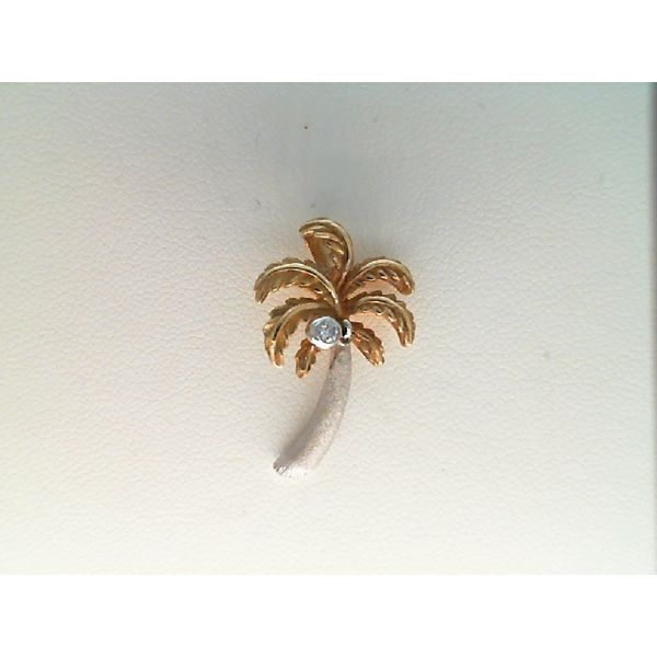 14kt White and Yellow Gold 0.02ctdw Round Diamond Palm Tree Sanders Diamond Jewelers Pasadena, MD