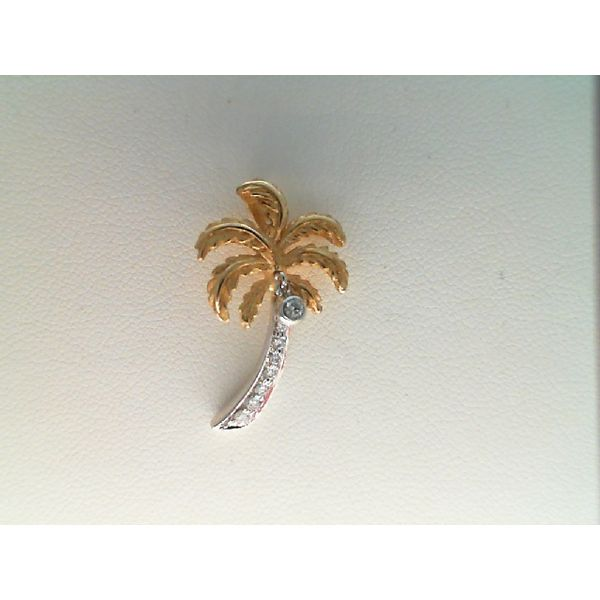 14kt White and Yellow Gold  0.11Ctdw Round Diamond Palm Tree Sanders Diamond Jewelers Pasadena, MD