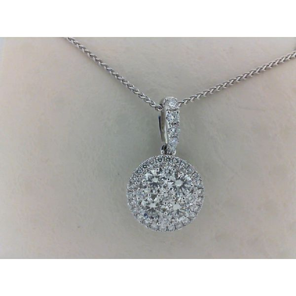 14kt White Gold 0.59Ctdw Round Cluster Diamond with Round Diamond Halo Pendant Sanders Diamond Jewelers Pasadena, MD