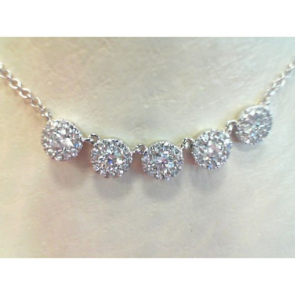 14kt White Gold Five Halo Round Diamond Necklace Sanders Diamond Jewelers Pasadena, MD
