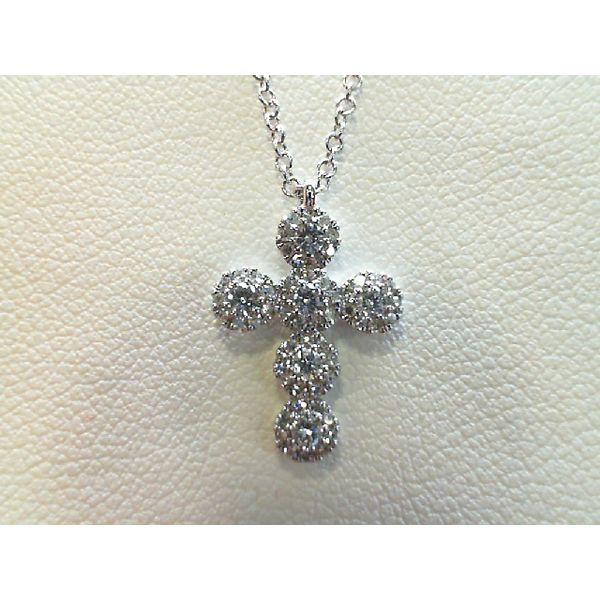 14kt White Gold Round Diamond Halo Cross Pendant Sanders Diamond Jewelers Pasadena, MD