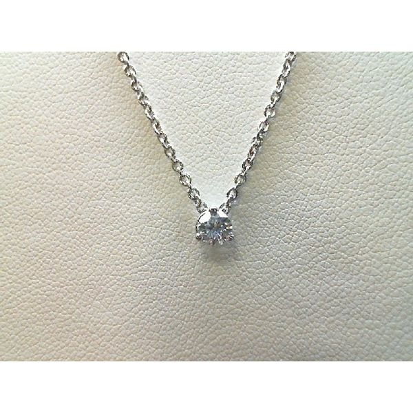14Kt White Gold 0.24Ct. Round Diamond Three Prong Necklace Sanders Diamond Jewelers Pasadena, MD