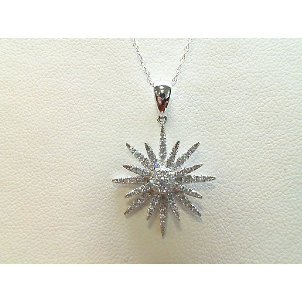 18kt White Gold and 14kt White Gold 0.36Ctdw Stiletto Diamond Pendant Sanders Diamond Jewelers Pasadena, MD