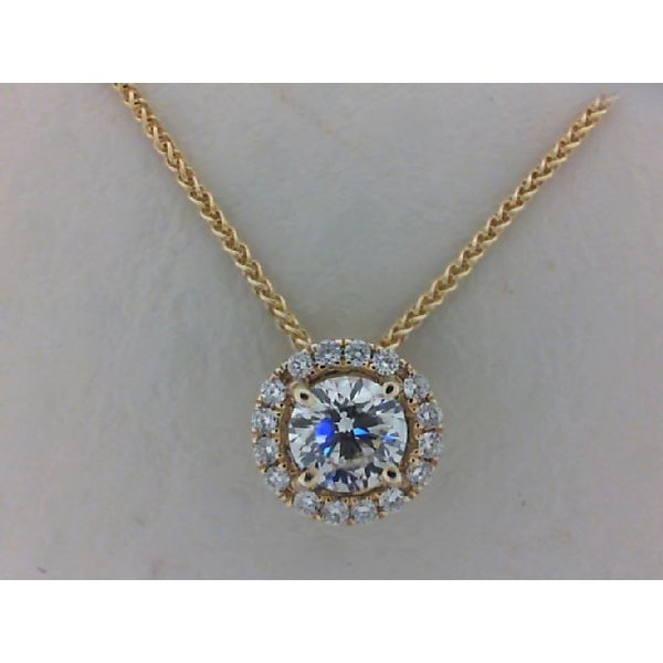 14kt Yellow Gold  0.50Ctdw Round Diamond Halo Necklace Sanders Diamond Jewelers Pasadena, MD