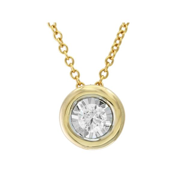 14kt Yellow Gold Diamond Bezel Set Necklace Sanders Diamond Jewelers Pasadena, MD