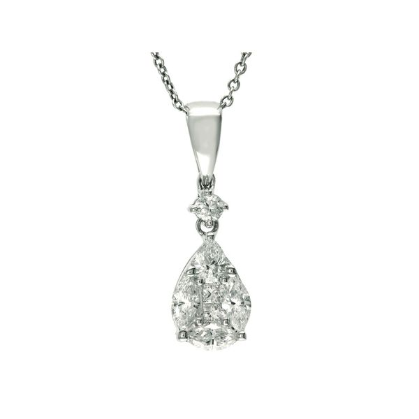 18kt White Gold Multiple Shape Diamond Necklace Sanders Diamond Jewelers Pasadena, MD
