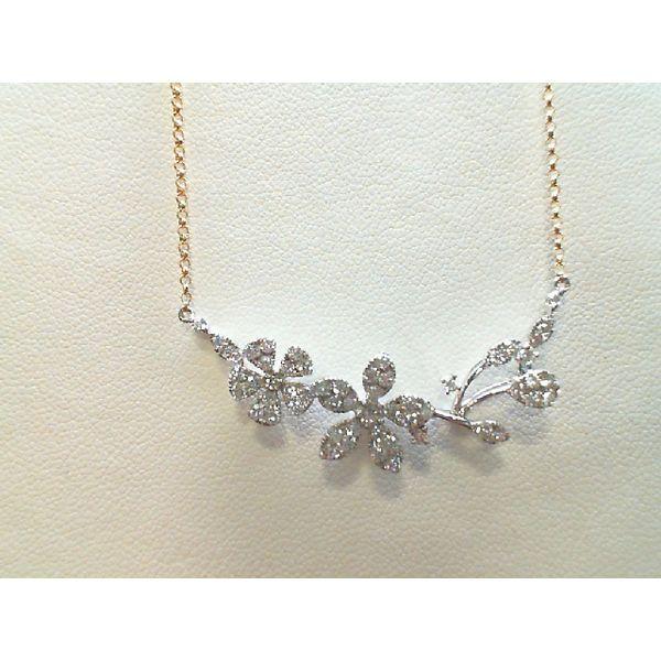 14kt Yellow and White Gold Round Diamond Floral Necklace Sanders Diamond Jewelers Pasadena, MD