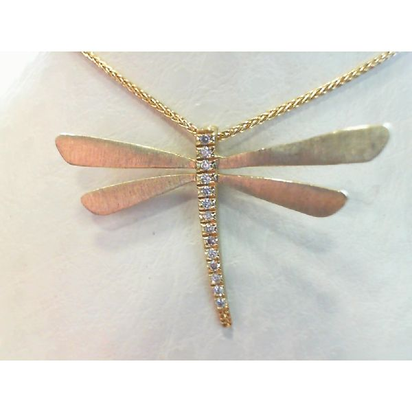 14kt Yellow Gold Round Diamond Dragon Fly Necklace Sanders Diamond Jewelers Pasadena, MD