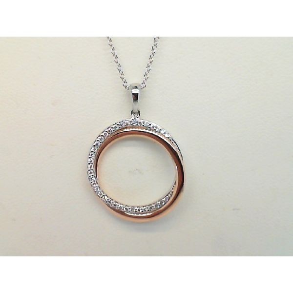 14KT WHITE AND ROSE GOLD  0.15CTDW ROUND CIRCULAR DIAMOND PENDANT Sanders Diamond Jewelers Pasadena, MD