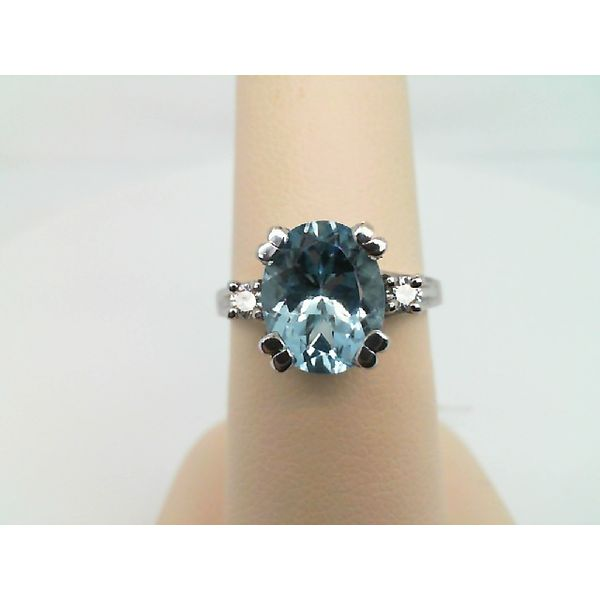 14kt White Gold 2-Round Diamond and Oval 10X8 Aquamarine Ring Sanders Diamond Jewelers Pasadena, MD