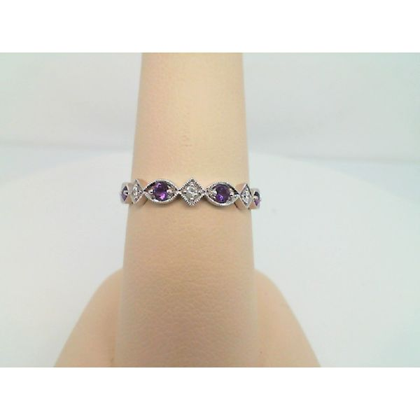 10kt White Gold Diamond and Amethyst Ring Sanders Diamond Jewelers Pasadena, MD
