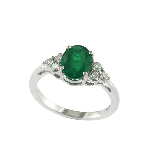 14kt White Gold Oval Emerald and Round Diamond Ring Sanders Diamond Jewelers Pasadena, MD