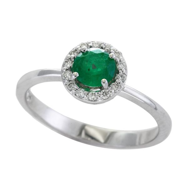 14kt White Gold Emerald and Diamond Halo Ring Sanders Diamond Jewelers Pasadena, MD