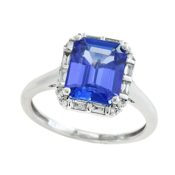 14kt White Gold Emerald Cut Tanzanite with Round and Baguette Diamond Halo Ring Sanders Diamond Jewelers Pasadena, MD