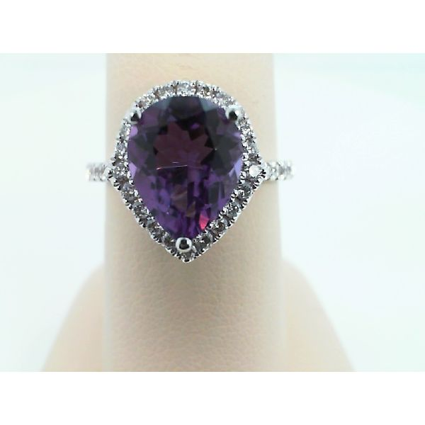 14KT WHITE GOLD PEAR AMETHYST AND DIAMOND RING Sanders Diamond Jewelers Pasadena, MD
