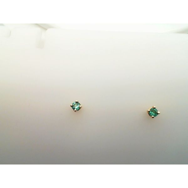 14KT YELLOW GOLD 3MM ROUND GENUINE EMERALD STUDS Sanders Diamond Jewelers Pasadena, MD