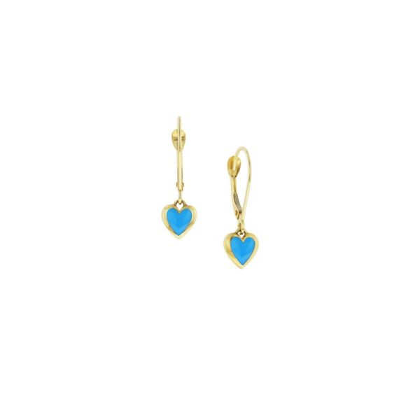 14KT YELLOW INLAY TURQUOISE HEART SHAPED DANGLES EARRINGS ON LEVER BACKS Sanders Diamond Jewelers Pasadena, MD