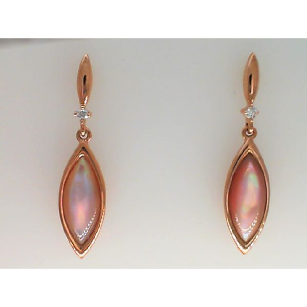 14KT ROSE GOLD PINK MOP AND DIAMOND DANGLE EARRING Sanders Diamond Jewelers Pasadena, MD