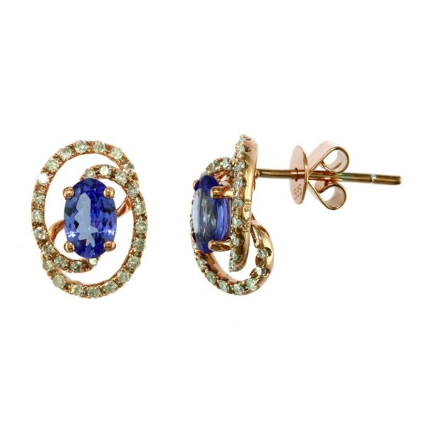 14kt Rose Gold Oval Tanzanite and Round Diamond Stud Earrings Sanders Diamond Jewelers Pasadena, MD