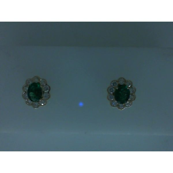 14kt Yellow Gold Oval Emerald and Round Diamond Stud Earrings Image 2 Sanders Diamond Jewelers Pasadena, MD