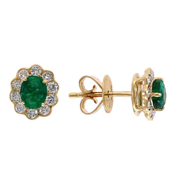 14kt Yellow Gold Oval Emerald and Round Diamond Stud Earrings Sanders Diamond Jewelers Pasadena, MD